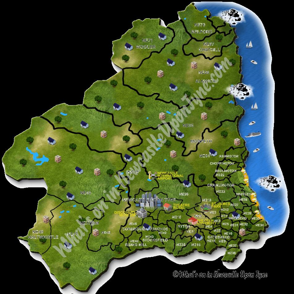 Newcastle upon Tyne Map